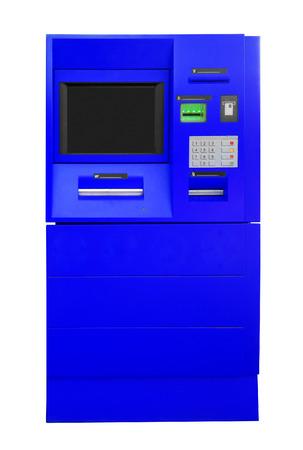 automatic transaction machine: Azul Bank ATM Cajero automático aislado en blanco. Aseguramiento camino. Foto de archivo
