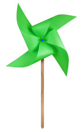 Green paper windmill pinwheel isolated on white with Clipping Path