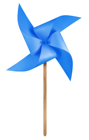 Blue paper windmill pinwheel isolated on white with Clipping Path Stock Photo