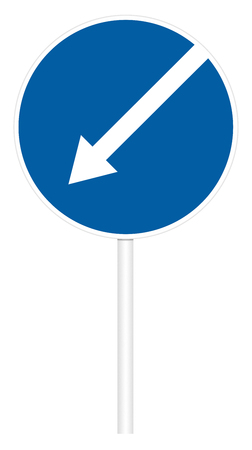 Prescriptive traffic sign isolated on white 3D illustration - Direct left