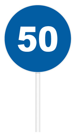 Prescriptive traffic sign isolated on white 3D illustration - Minimum speed limit