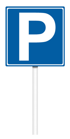 informative: Informative sign isolated on white, illustration - Parking area Stock Photo