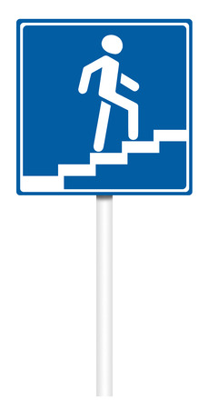 informative: Informative sign isolated on white, illustration - Elevated pedestrian crossing