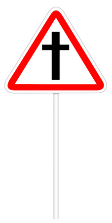 intersection: Warning traffic sign isolated on white 3D illustration - Road intersection