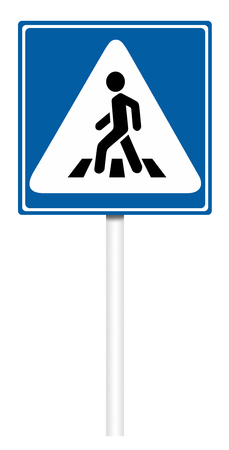 informative: Informative sign isolated on white, illustration - Crosswalk Stock Photo