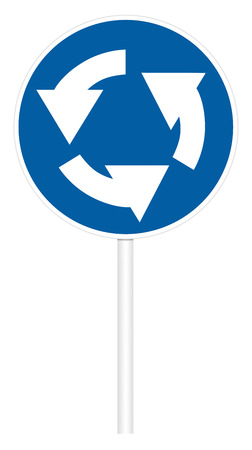 Prescriptive traffic sign isolated on white 3D illustration - Circular motion Stock Photo