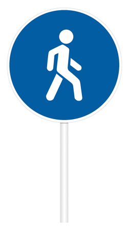 Prescriptive traffic sign isolated on white 3D illustration - Pedestrian path