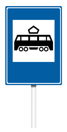 informative: Informative sign isolated on white, illustration - Tramway stop Stock Photo