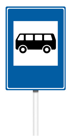 informative: Informative sign isolated on white, illustration - Bus stop