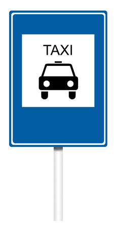 informative: Informative sign isolated on white, illustration - Taxi
