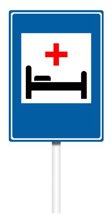 Informative sign isolated on white, illustration - Hospital
