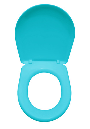 Light blue toilet seat isolated on white.