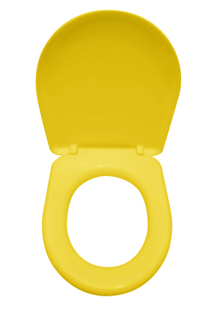 Yellow toilet seat isolated on white. Clipping path included