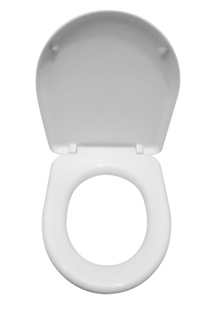latrine: White toilet seat isolated on white. Clipping path included Stock Photo