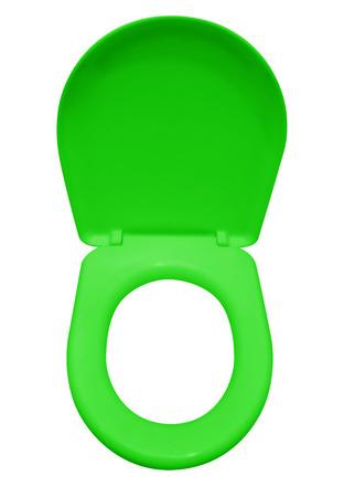 Green toilet seat isolated on white.