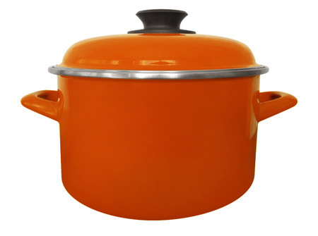 Orange saucepan isolated on white with clipping path