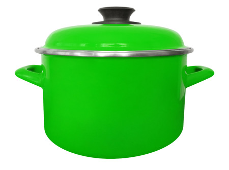 Green saucepan isolated on white with clipping path