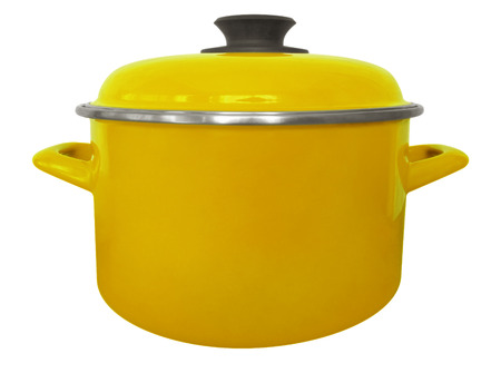Yellow saucepan isolated on white with clipping path Stock Photo