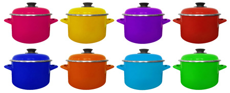 Kitchen colorful saucepans isolated on white background Stock Photo