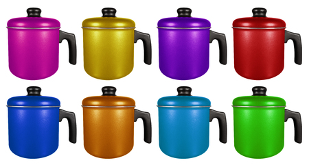 Colorful saucepans with hand isolated on white background Stock Photo