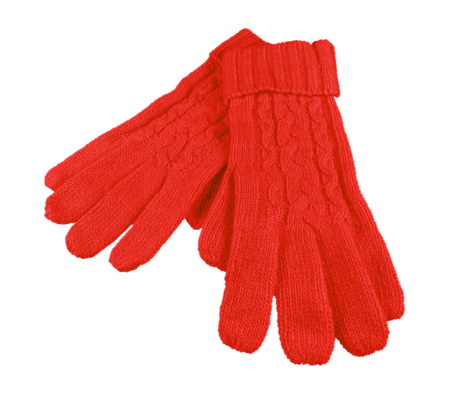 tejido de lana: Red woolen gloves isolated on white with Clipping Path