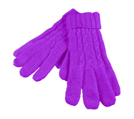 tejido de lana: Violet woolen gloves isolated on white with Clipping Path