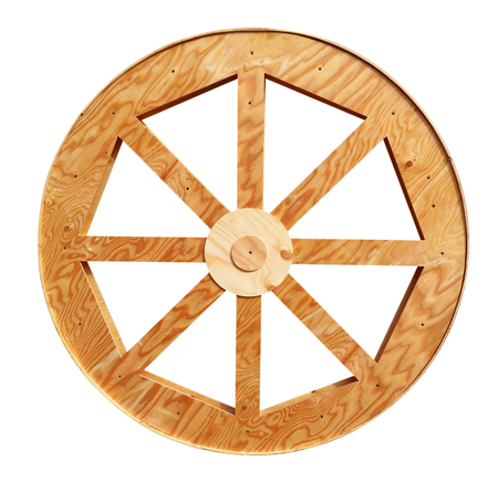 cartwheel: Wooden cartwheel isolated on white with Clipping Path