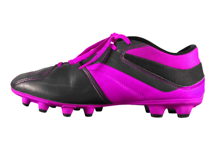 violet football boots isolated on white w