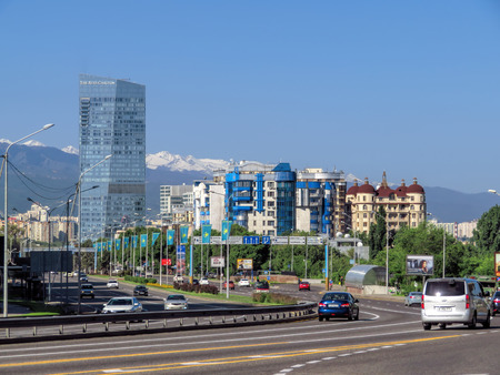 ALMATY, KAZAKHSTAN - MAY 14, 2017: View from Al-Farabi avenue, it is one of the main roads in the city of Almaty Editorial