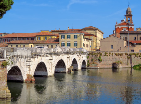 Tiberius Bridge in Rimini, one of the most solid architectural structures built by the Romans Stock Photo