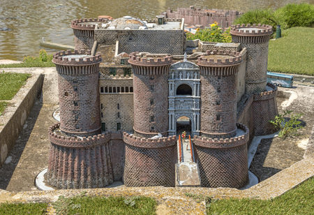 Rimini, Italy - June 13, 2017: Castle Nuovo in Naples in the theme park Italy in miniature (Italia in miniature).