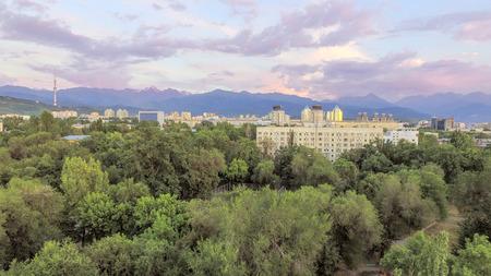 Panoramic aerial view of Almaty city, Kazakhstan.