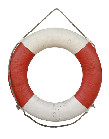 Old lifebuoy isolated on white with Clipping Path Stock Photo