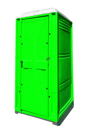 Mobile portable green plastic toilet isolated on white with Clipping Path Stock Photo