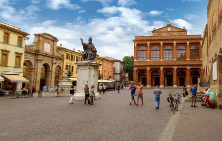 Rimini, Italy - June 14, 2017: Piazza Cavour Square. The city square is the political and economic center since the beginning of the thirteenth century. Editorial