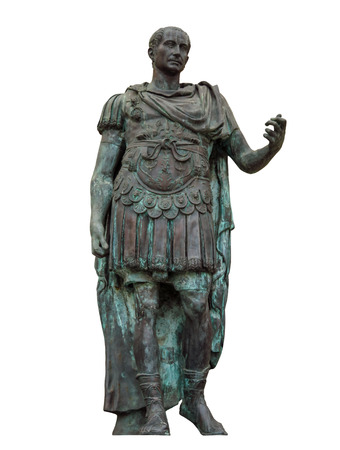 Statue of Gaius Julius Caesar isolated on white in Rimini, Italy. Clipping Path included Stock Photo - 83654670
