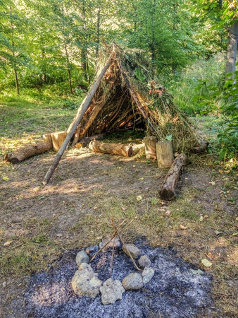 Hut of branches in the summer forest Stock Photo
