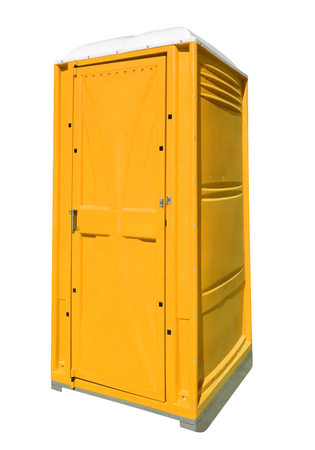 Mobile portable yellow plastic toilet isolated on white with Clipping Path