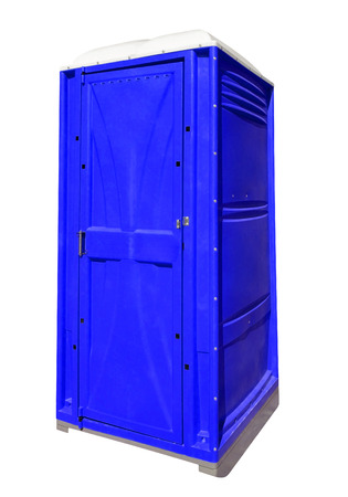 Mobile portable blue plastic toilet isolated on white with Clipping Path