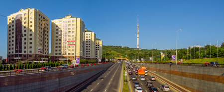 Almaty, Kazakhstan - July 21, 2017: View from Al-Farabi avenue, it is one of the main roads in the city of Almaty
