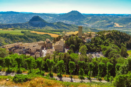 View to the medieval village San Leo from the fortress Stock Photo
