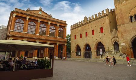 Rimini, Italy - June 14, 2017: Public theater Amintore Galli and The Cavour square in Rimini, Italy