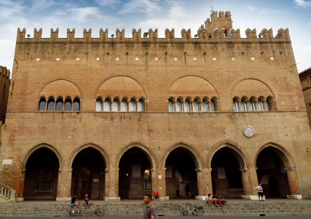 Rimini, Italy - June 14, 2017: The majestic Palazzo dellArengo in Piazza Cavour. Built in the XIII century in Romanesque-Gothic style at the behest of the mayor of Rimini, it housed the Council of the Rimini people.