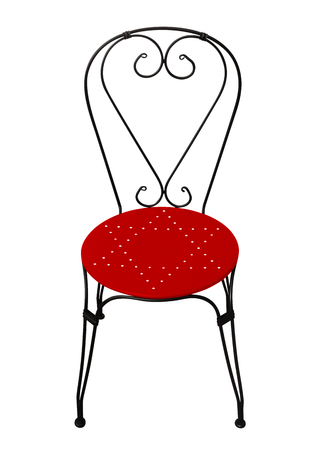 Forged chair with red seat isolated on white with Clipping Path Stock Photo
