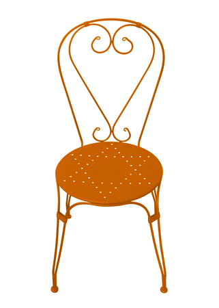 Orange forged chair isolated on white with Clipping Path