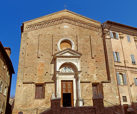View of buildings in the old city. Urbania was famous during the Renaissance as a country seat of the Dukes of Urbino.