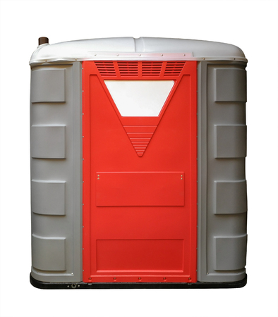 Plastic Portable Toilet isolated on white with Clipping path