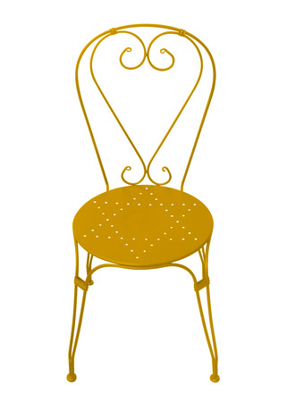 Yellow forged chair isolated on white Stock Photo