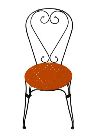 Forged chair with orange seat isolated on white Stock Photo
