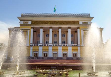 Almaty, Kazakhstan - September 21, 2017: State Academic Opera and Ballet Theater named after Abai in Almaty, Kazakhstan
